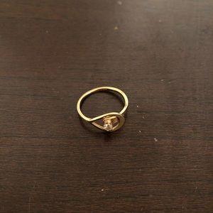 Avon Catch a Star gold teardrop diamond ring